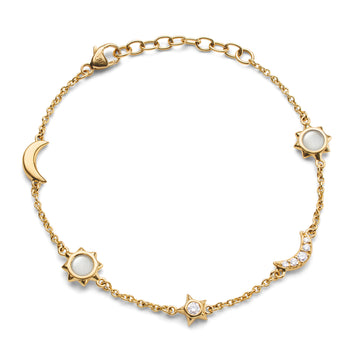 Sun, Moon and Stars Diamond and Moonstone Chain Bracelet