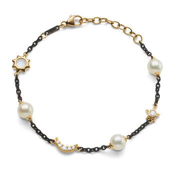 Sun, Moon and Stars Pearl, Moonstone and Diamond Steel Chain Bracelet