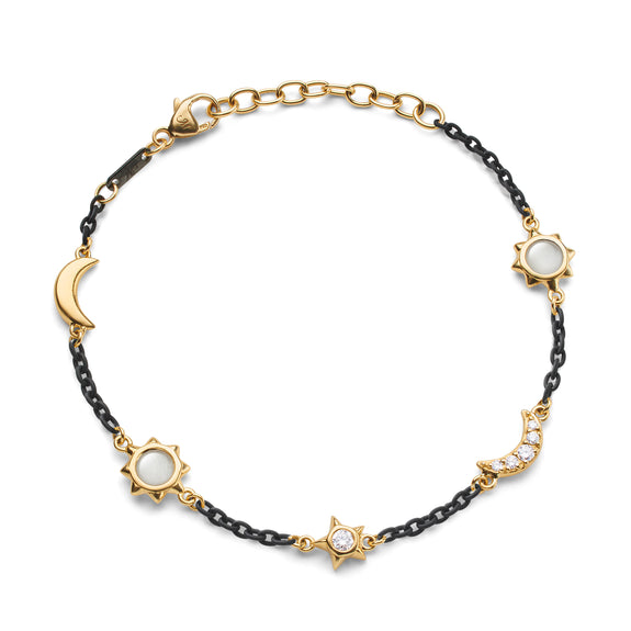 Sun, Moon and Stars Moonstone and White Diamond Steel Chain Bracelet