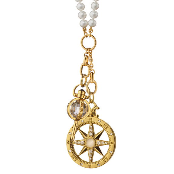 """Travel"" Compass and Mini ""Carpe Diem"" Key Pearl Charm Necklace"