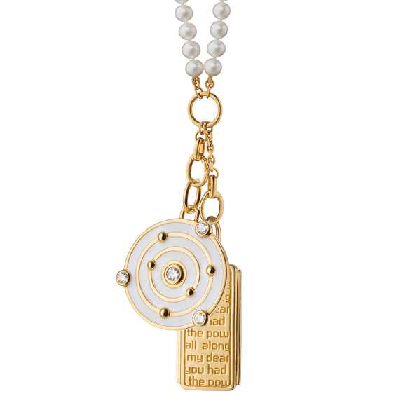 """The Time is Now"" and ""Dorothy"" Medallion Pearl Charm Necklace"