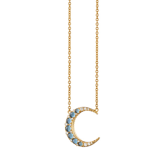 Aquamarine Crescent Moon Necklace