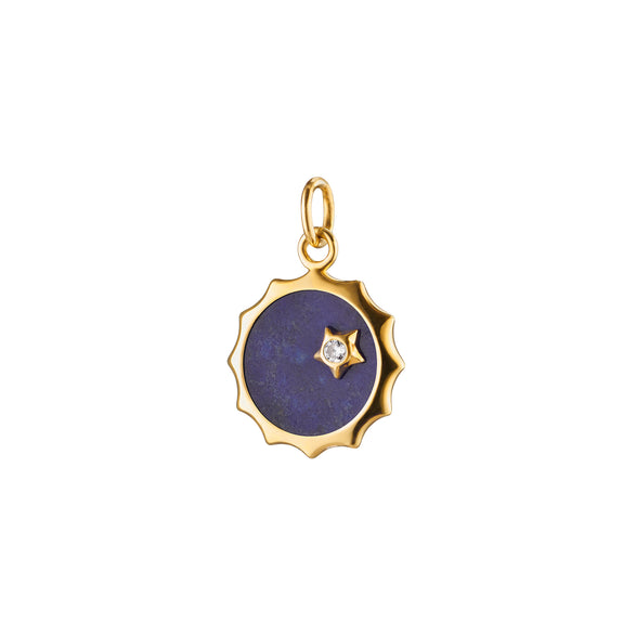 Lapis Sun and Star Charm