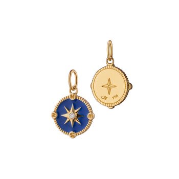 "Mini ""Adventure"" Compass Charm with Blue Enamel"