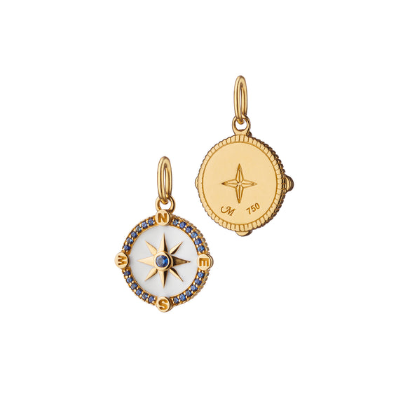 "Mini ""Adventure"" Compass Charm with White Enamel"