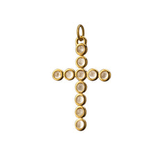 """Faith"" Cross Charm with Round Moonstones"