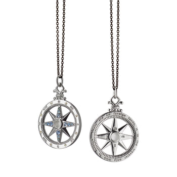 """Travel"" Global Compass Charm Necklace on a Black Steel Chain"