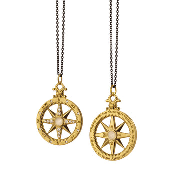 """Travel"" Compass Charm with Diamonds on a Black Steel Chain"