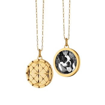 Round Mosaic Half Locket on a Delicate Gold Open Link Chain