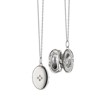 "Four Image ""Midi"" Locket Charm with Sapphires on a Silver Chain"