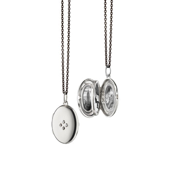 "Four Image ""Midi"" Locket Charm with Sapphires on a Black Steel Chain"