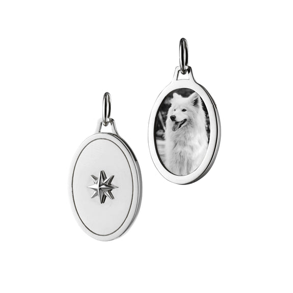 Sterling Silver Oval Star Half Locket