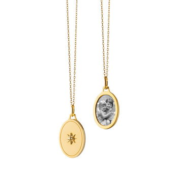 "Oval Star Half Locket on a 17"" ""Jamie"" Delicate Diamond Cut Chain"
