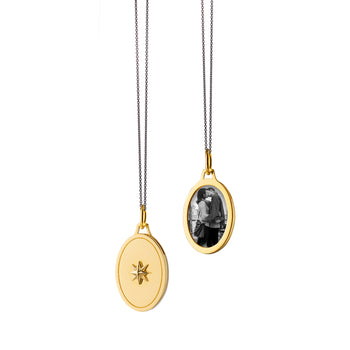 "Oval Star Half Locket on a 17"" ""Frankie"" Delicate Black Steel Chain"