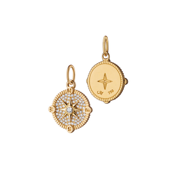 "Mini ""Adventure"" Compass Charm with Pavé Diamonds"