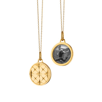 "Small Round Mosaic Half Locket on a Yellow Gold ""Jamie"" Chain"