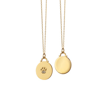 Paw Print Charm with Diamonds on a Diamond Cut Chain