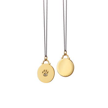 Paw Print Charm with Diamonds on a Delicate Black Steel Chain