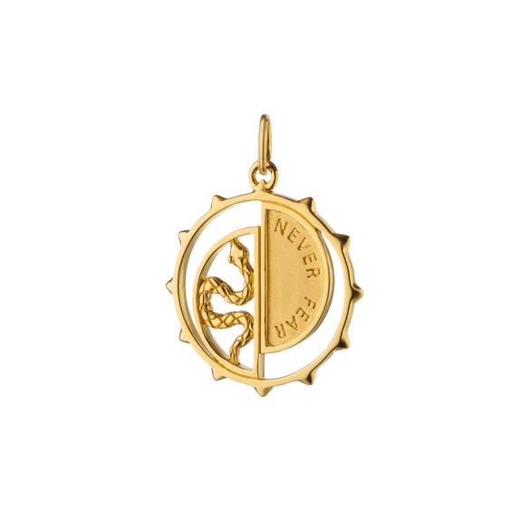 "18K Yellow Gold ""Never Fear"" Snake Medallion"
