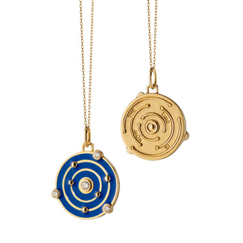 """The Time is Now"" Blue Enamel Charm with Diamonds on a Gold Delicate Diamond Cut Chain"
