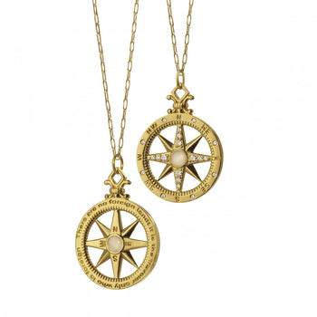 """Travel"" Compass Charm with Diamonds on an Open Link Gold Chain"