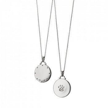 Paw Print Charm Necklace with Sapphires