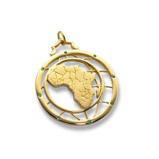 """Travel"" Africa Continent Charm with Emeralds"