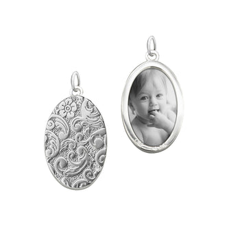 Sterling Silver Oval Floral Half Locket Charm