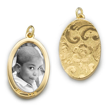 Oval Half-Locket Charm for one photo