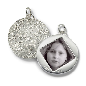 Sterling Silver Floral Half-Locket Charm