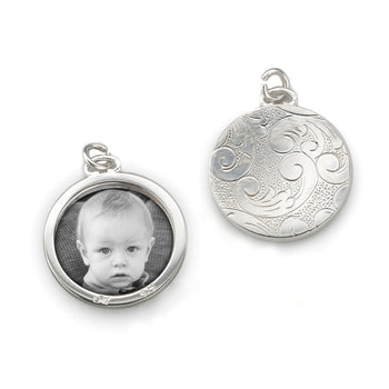 Floral Half-Locket Charm in Silver