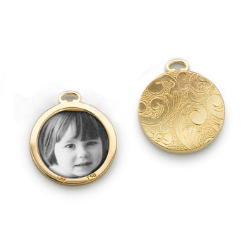 Floral Half-Locket Charm in Gold