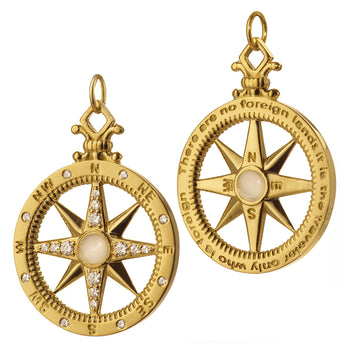 """Adventure"" Compass Charm with Diamonds"