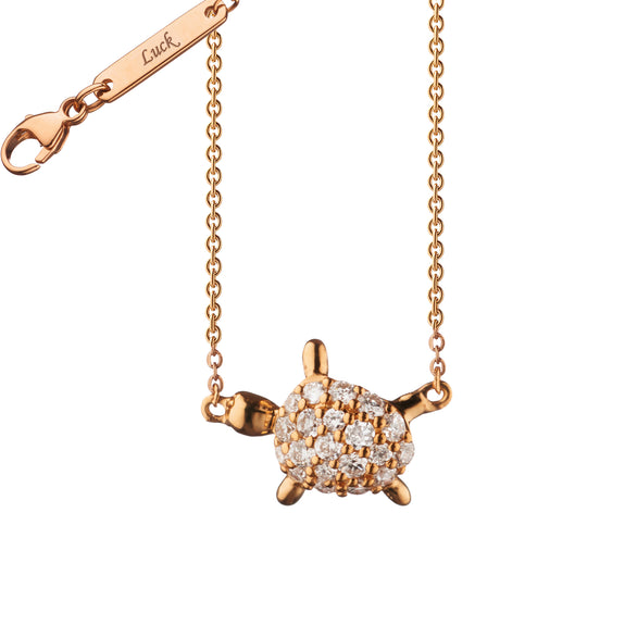 "Diamond Critter Turtle ""Luck"" Necklace"
