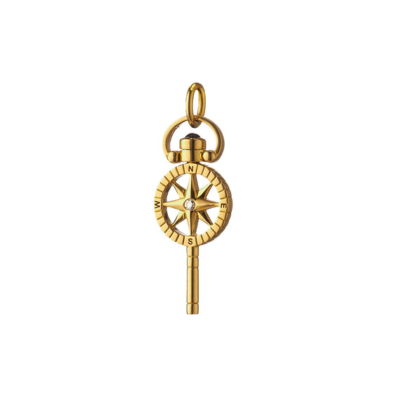 "Mini ""Travel"" Compass Key with Diamond"