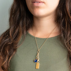 """Design Your Own"" Charm Chain Necklace with Blue Lapis Sun and Star Charm and Dorothy Medallion"