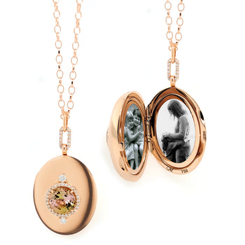 Special Edition Bi-Color Tourmaline and Diamond Oval Locket
