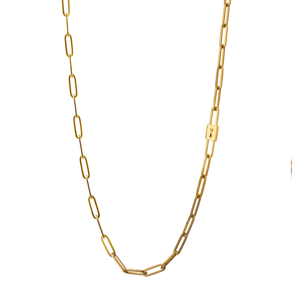 Lock Charm Paperclip Chain Necklace