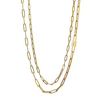 Double Strand Lock Charm Paperclip Chain Necklace