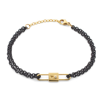 Lock Charm Black Steel Chain Bracelet