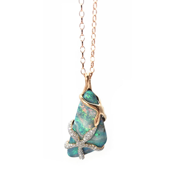 Special Edition Boulder Opal and Diamond Star Fish Pendant