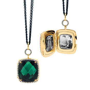 Special Edition Blue Green Tourmaline and Diamond Locket