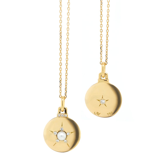 Round Star Charm with Center Pearl