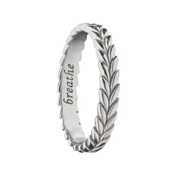 """Breathe"" Leaf Poesy Stackable Ring"