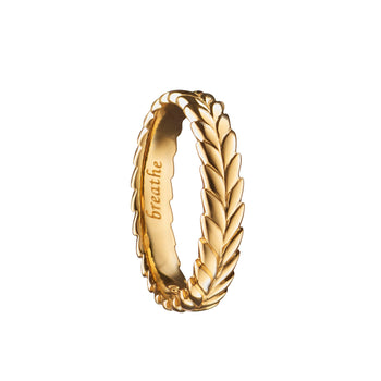 """Breathe"" Leaf Poesy Ring, Size 3, 18K Yellow Gold"