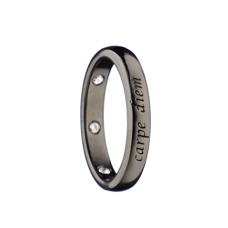 """Carpe Diem"" Poesy Ring, Size 4, Black Rhodium"