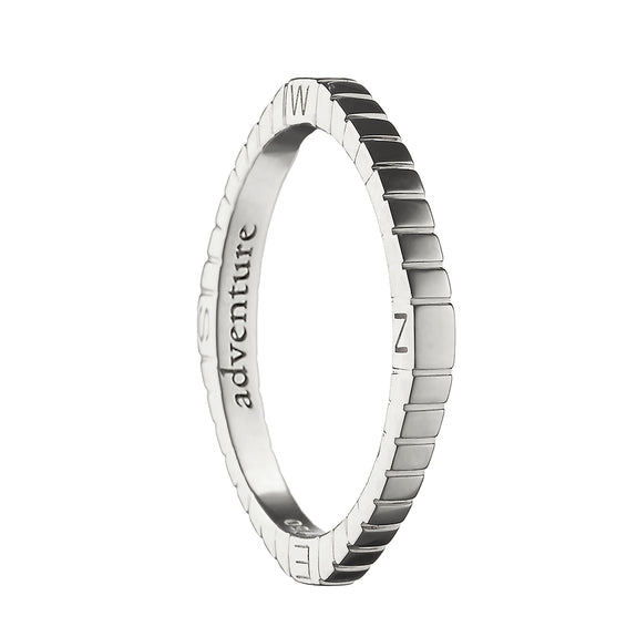 """Adventure"" Compass Poesy Ring in sterling silver"