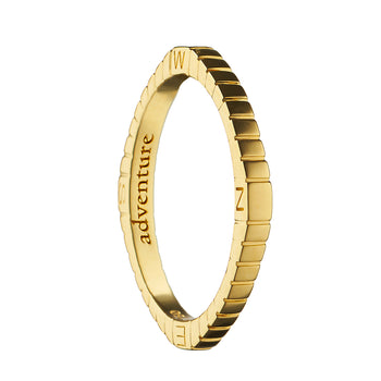 """Adventure"" Compass Poesy Ring, Size 7, 18K Yellow Gold"
