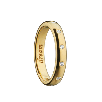 """Dream"" Poesy Ring with Diamonds, Size 4, 18K Yellow Gold"