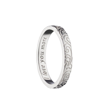 """I love you more"" Engraved Poesy Ring, Size 3, Sterling Silver"